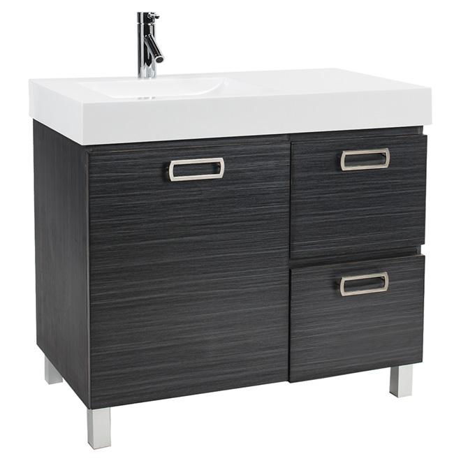 Meuble-lavabo Turenne à 1 porte et 2 tiroirs, gris foncé
