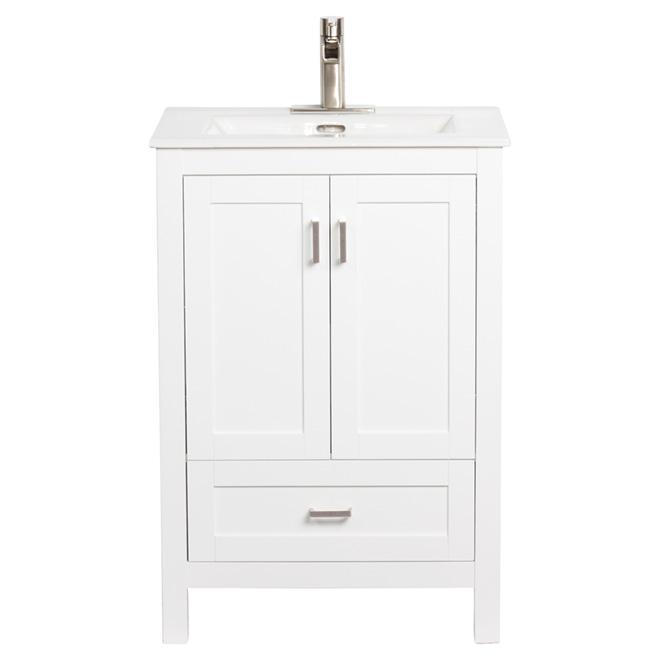 "Meuble-lavabo avec 2 portes et 1 tiroir, 24"", blanc"