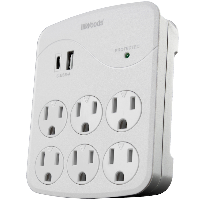 Wall Adapter - 6 Outlets - USB - 120 V - EZ-Pull - White