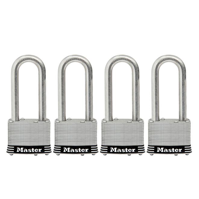 Cadenas à clé Master Lock, 2 po, arceau de 2,5 po, acier inoxydable, paquet de 4