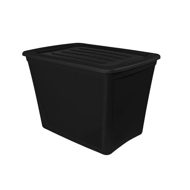 Boîte de rangement emboîtable, Gracious Living, plastique, 72 litres noir