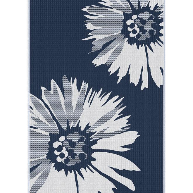 Tapis en polyester Multy Home, marguerites, 5 pi x 7 pi, bleu marine