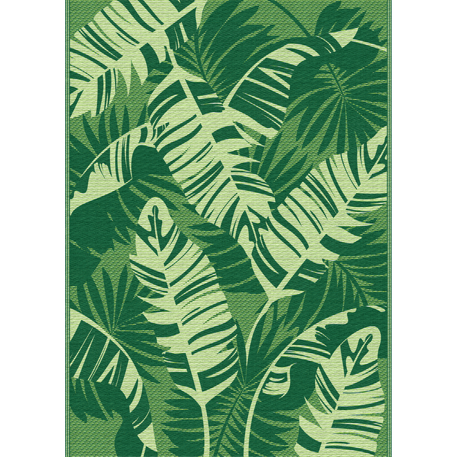 Tapis en polyester Multy Home, feuilles, 5 pi x 7 pi, vert