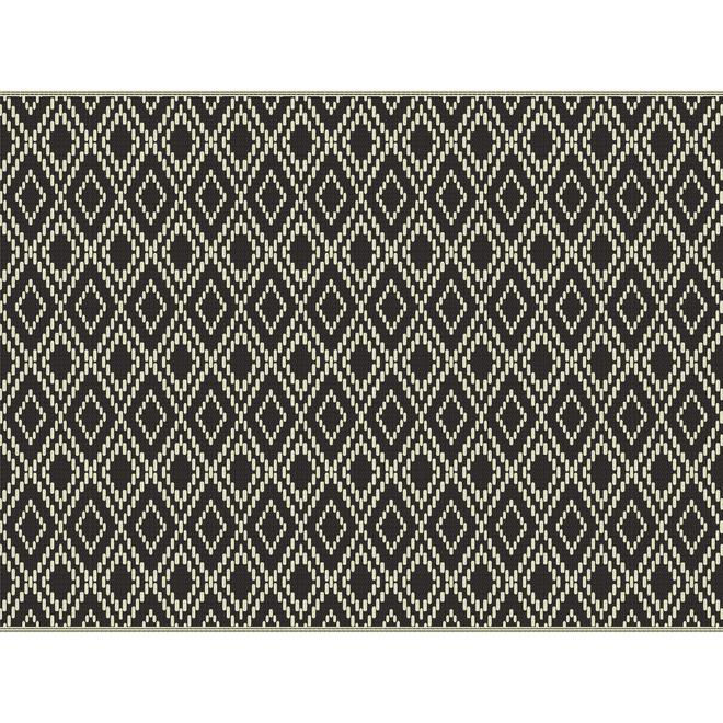 Tapis Multy Home en polyester, Évasion Globale, 9 pi x 12 pi, noir et blanc