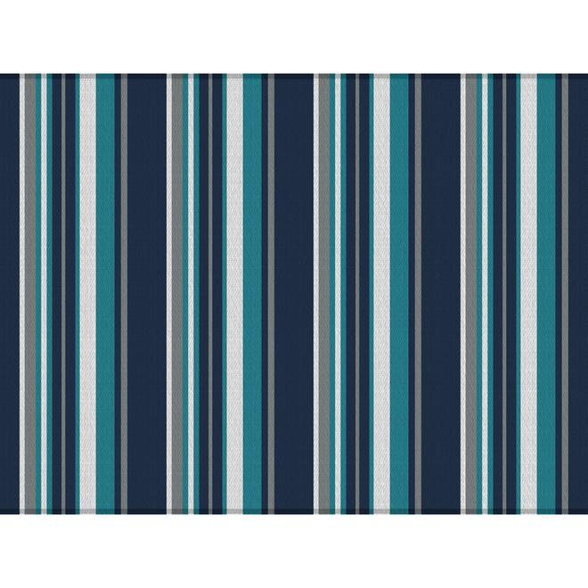 Tapis Multy Home en polyester, 9 pi x 12 pi, lignes bleues, blanches et grises
