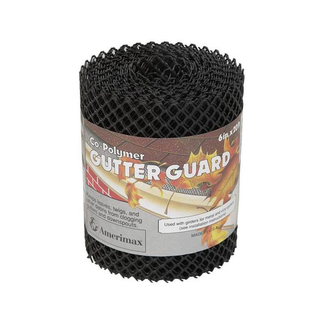 """Protège-gouttière en plastique noir, 6"""" x 20'"""