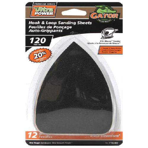 Papier abrasif de détail Gator Ultra Power, oxyde de zirconium, grain 120, paquet de 12