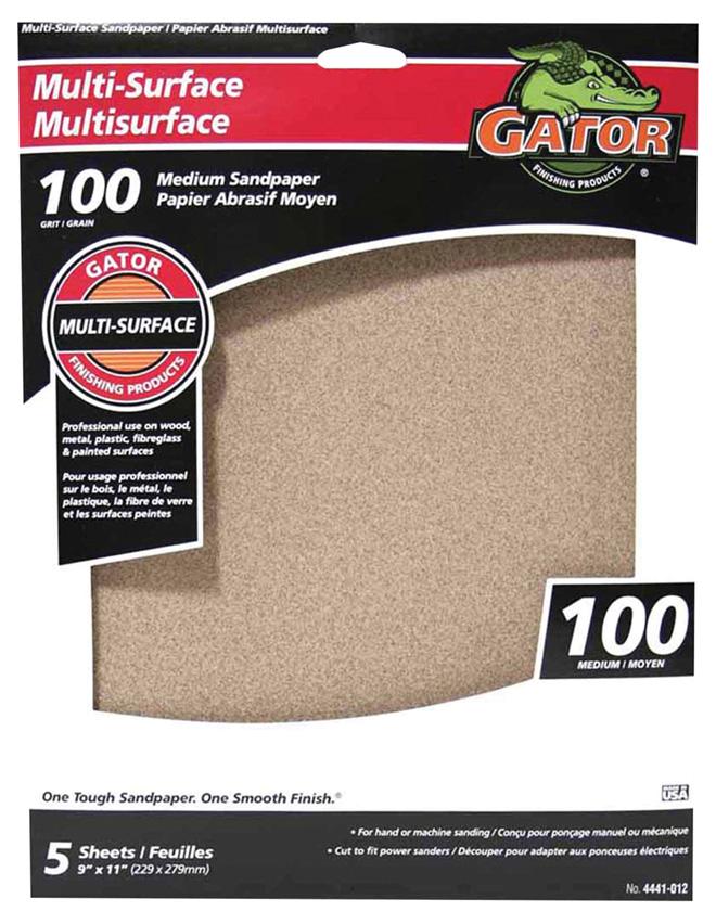 Papier abrasif multisurface, 9 x 11 po, grain 100, brun, pqt-5