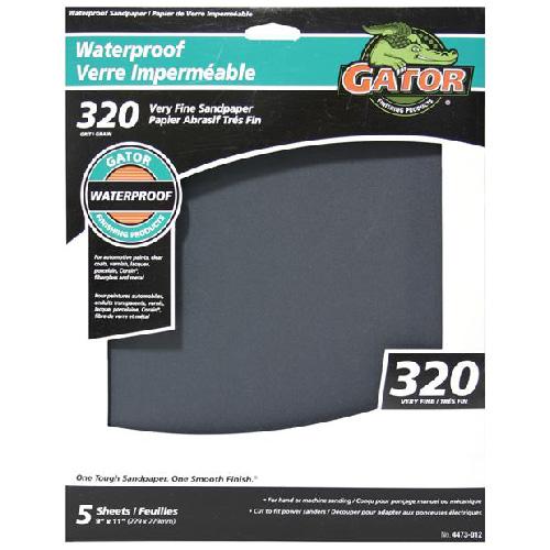Papier abrasif imperméable, grain 320, 9 x 11 po, noir, pqt-5
