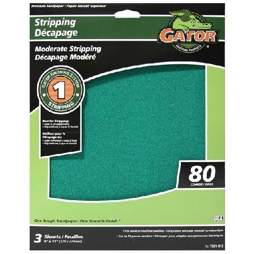 Papier abrasif supérieur, 9 po x 11 po, grain 80, vert, pqt-3