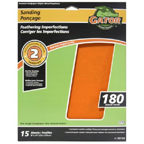 Papier abrasif supérieur, grain 180, 9 x 11 po, orange, pqt-15