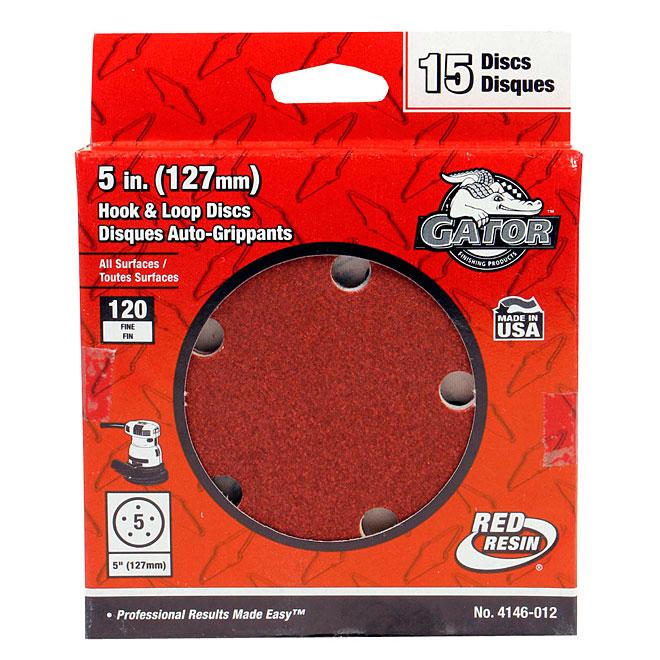 "5-Hole Sanding Discs - 120 Grit - 5"" - 15-Pack"