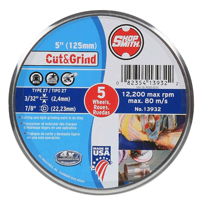 Meule à métal, Cut&Grind, 5 po, paquet de 5