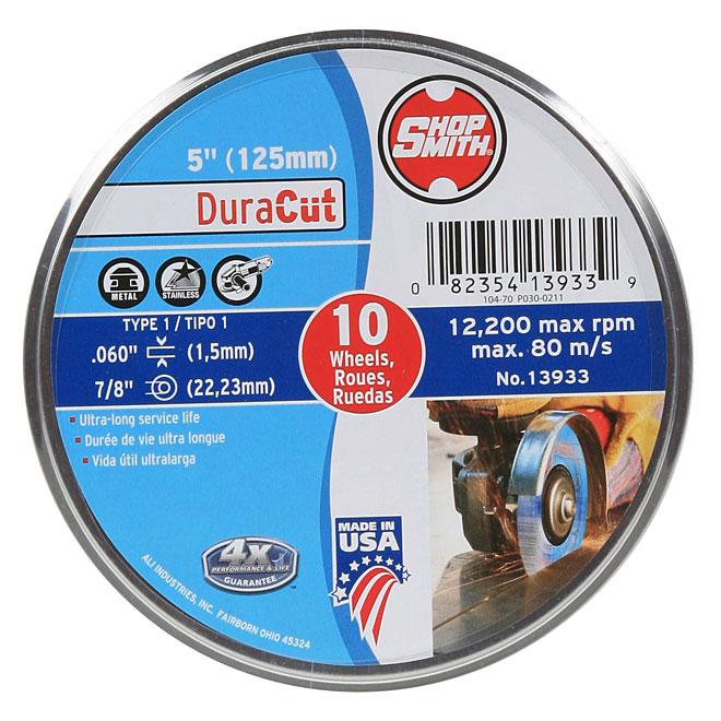 "Metal Cutting Wheel - DuraCut - 5"" - 10-Pack"