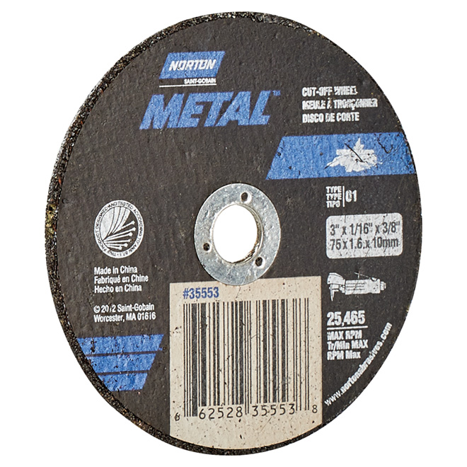 "3"" x 1/16"" x 3/8"" Black Cut-Off Wheel for Metal"