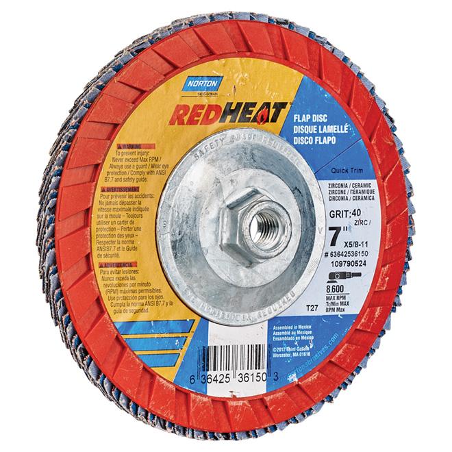 Disque à lamelles Red Heat, grain 40, 7 po