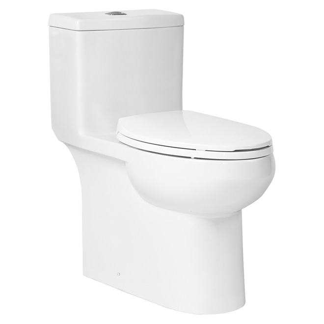 Toilette double chasse, cuve allongée, porcelaine, 3 l/4,8 l