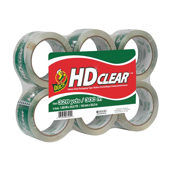 Heavy-Duty Packaging Tape - 300m - Clear - 6Rolls