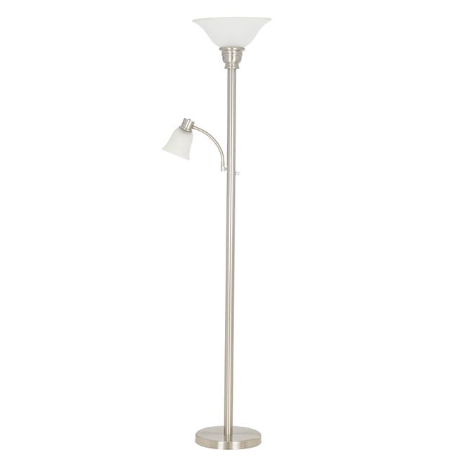 "Metal Torchiere Lamp - 71"" - Brushed Steel"