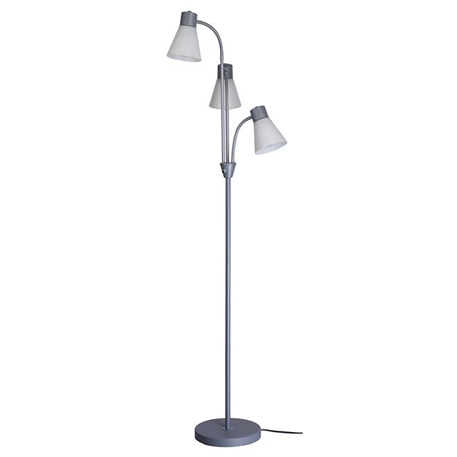 Floor Lamp - Three Gooseneck Arms - Silver