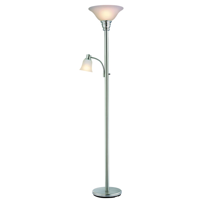 "Torchiere with Reading Lamp 71"" - Brushed Steel"