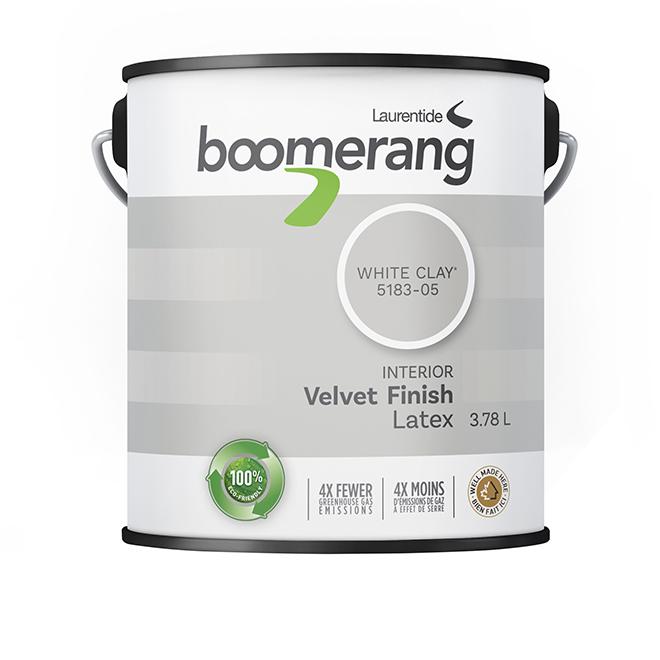 Boomerang Recycled Interior Paint - Latex - Velvet Finish - 3.78 L - White Clay