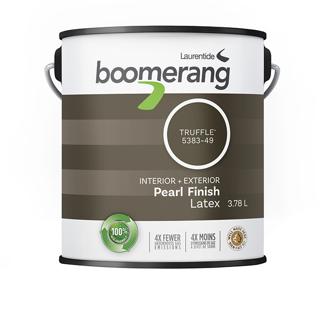 Boomerang Indoor and Outdoor Recycled Paint - Latex - Pearl Finish - 3.78 L - Truffle