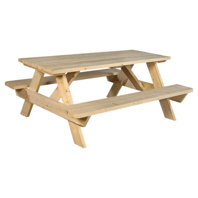 lebel table de pique nique en bois non trait 6 39 naturel. Black Bedroom Furniture Sets. Home Design Ideas