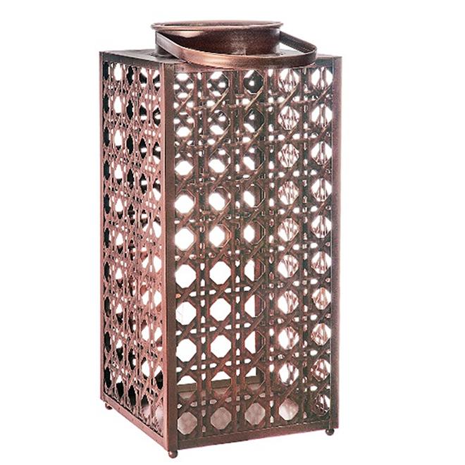 "Lanterne de patio, imitation de rotin, 15"", cuivre"