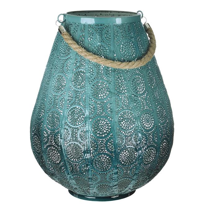 "Patio Lantern - Ceramic Imitation - 15"" - Blue"