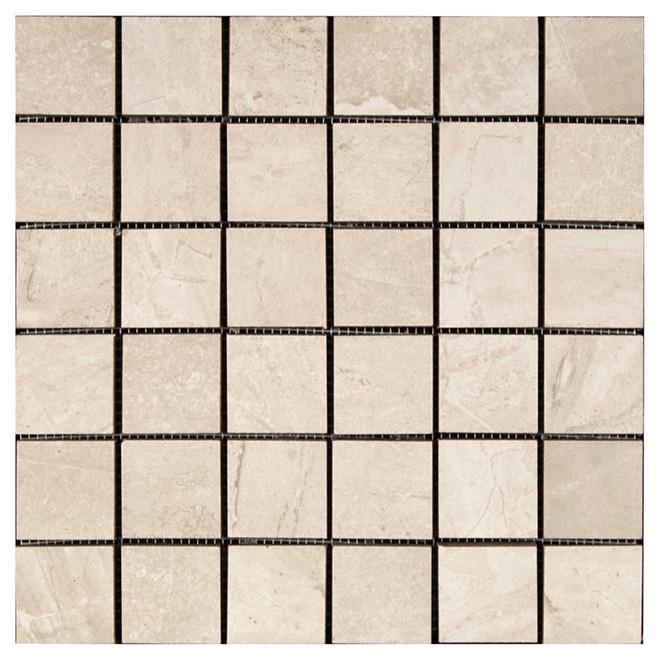 """Pietra Bella Porcelain Mosaic - White - 12"""" x 12"""" - 5/Box"""