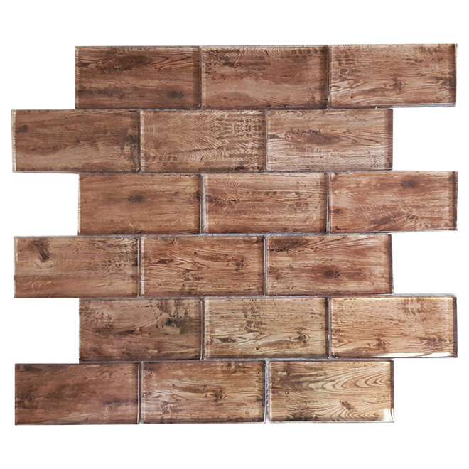 """Wood"" Mosaic Glass Tile - 12"" x 12"" - 5 Box"