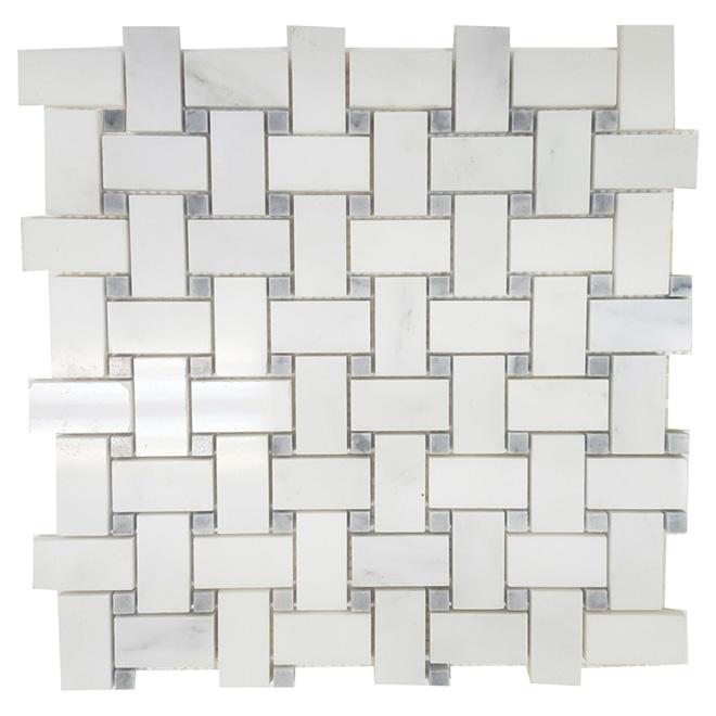 Mosaïque de marbre « Basketweave », 12 x 12 po, blanc