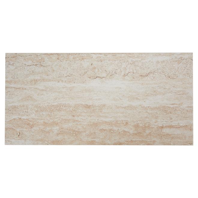 Tuiles de porcelaine, mur/plancher, Travertino, 8/boite