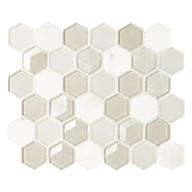 "Glass Mosic Tile - 10"" x 12"" - 5/box - White"