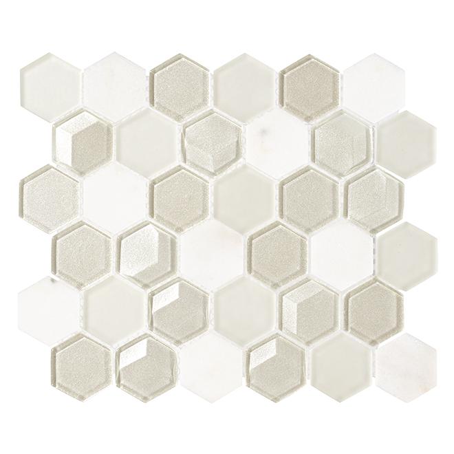 """Tuile mosaïque en verre, 10"""" x 12"""", 5/bte, blanc"""