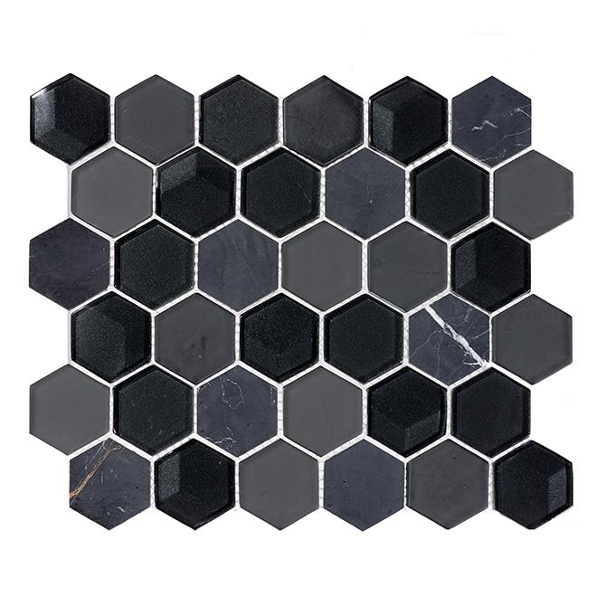 """Tuile mosaïque en verre, 10"""" x 12"""", 5/bte, noir"""