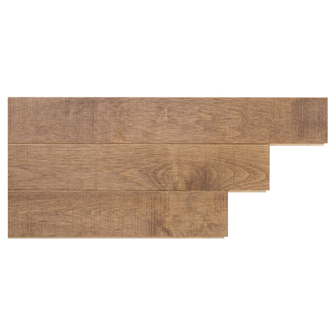 Plancher de bois franc en érable brossé, 20 pi², brun léger