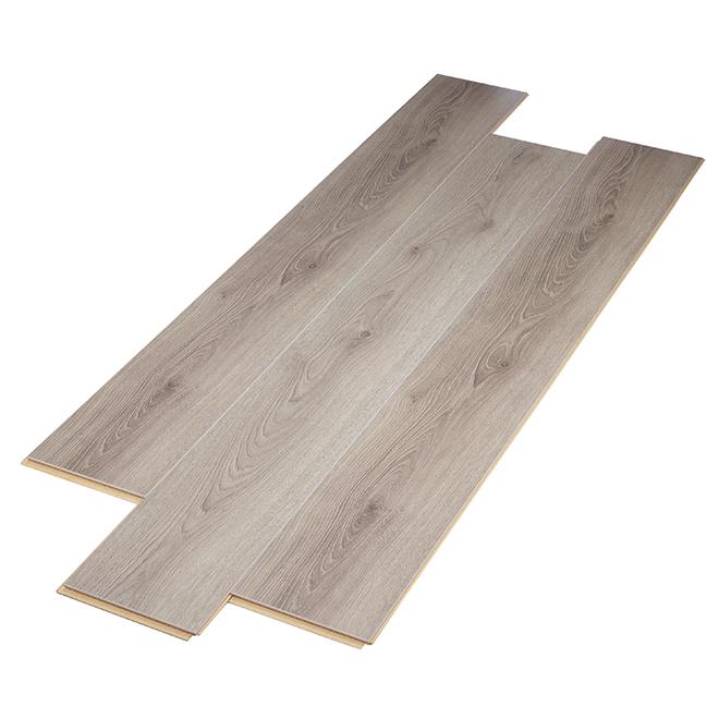 Plancher stratifié, 12mm, 20.06 pi²/boîte, gris
