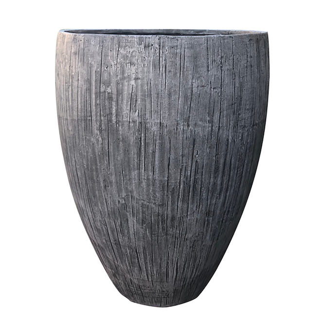 Gaarant Kai Flower Pot - 13-in - Resin - Grey