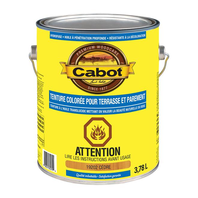 Teinture colorée d'extérieur pour terrasses et parements Cabot, à base d'huile, translucide, 3,78 L