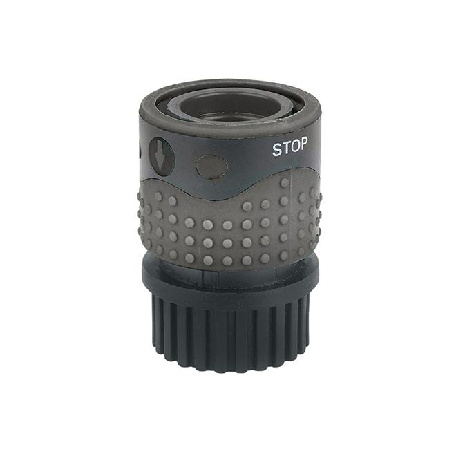 Connector for Outdoor Faucet and Garden Hose - Green/Black