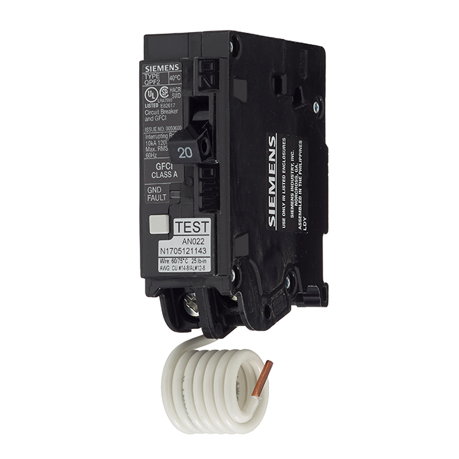 1-Pole 120 V AC GFCI Circuit Breaker - 20 A Rated