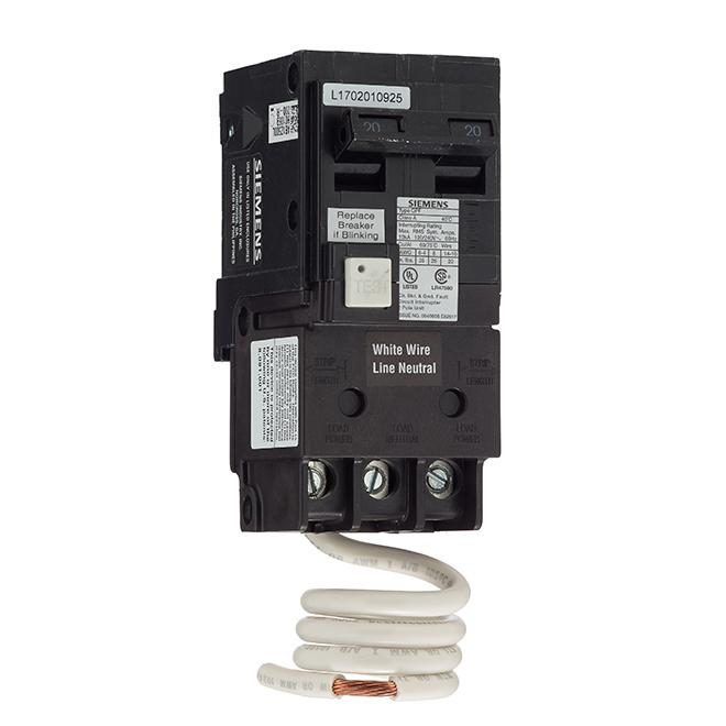 2-Pole 120/240 V AC GFCI Circuit Breaker - 20 A Rated