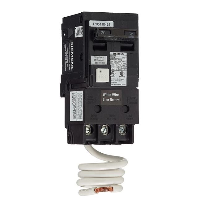 2-Pole 120/240 V AC GFCI Circuit Breaker - 30 A Rated