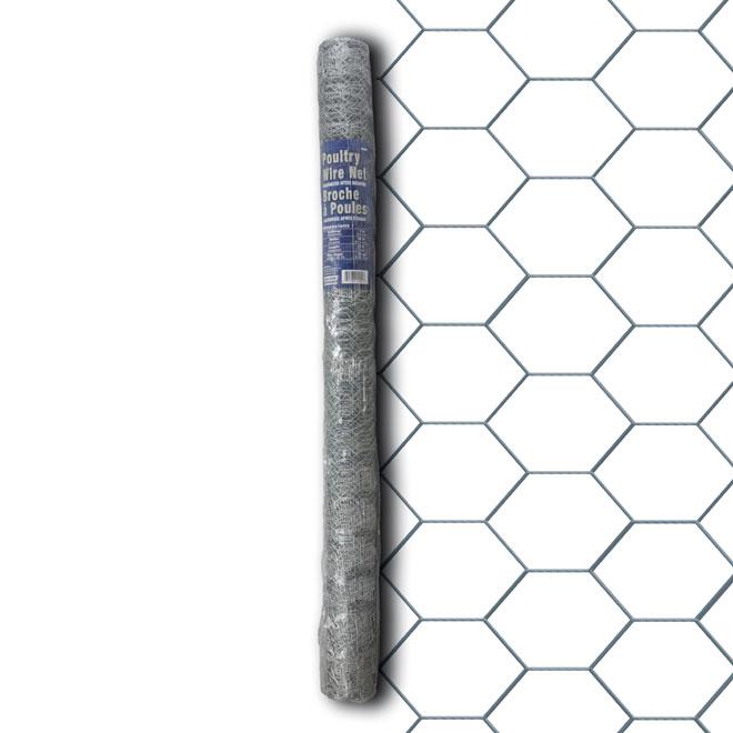 Broche à poule Ben-Mor, galvanisé, 50 pi L. x 2 pi H., gris, mailles hexagonales