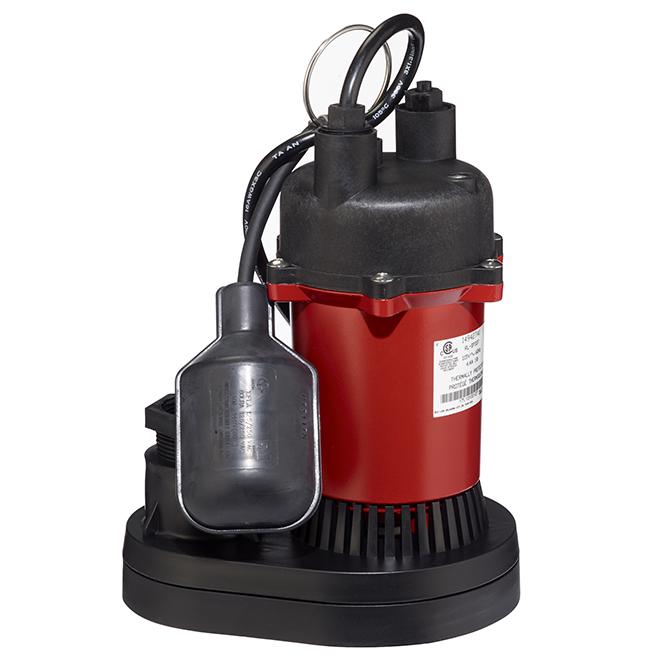 Pompe de puisard submersible, 1/3hp, 3200 gal/h, rouge