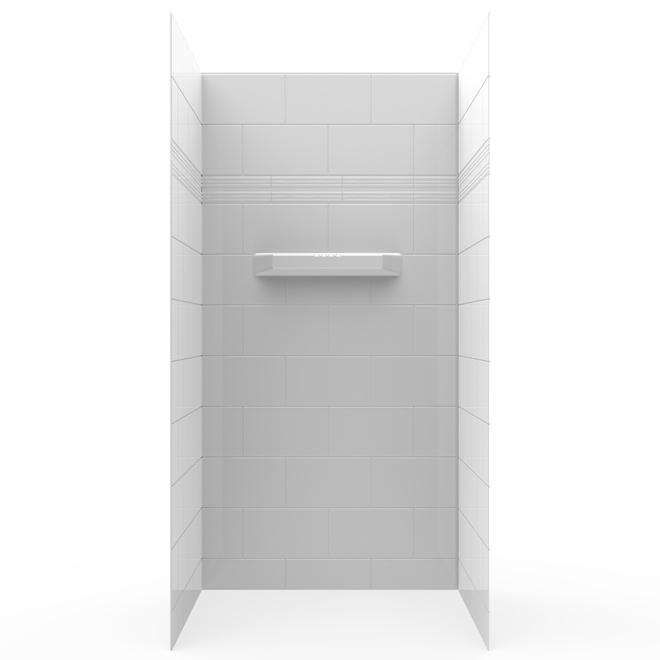 Technoform Cheverny 3-Piece Acrylic Shower Wall Kit - 32-in x 75-in