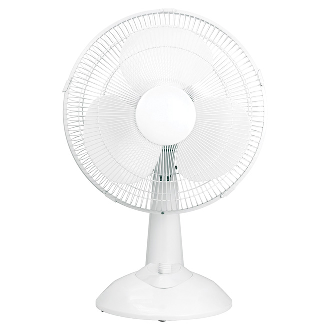 """Oscillating Table-Top Fan - 3-Speed - 12"""" - White"""