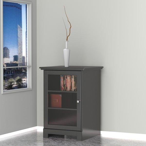 Nexera Pinnacle 1-Door Black Audio Tower